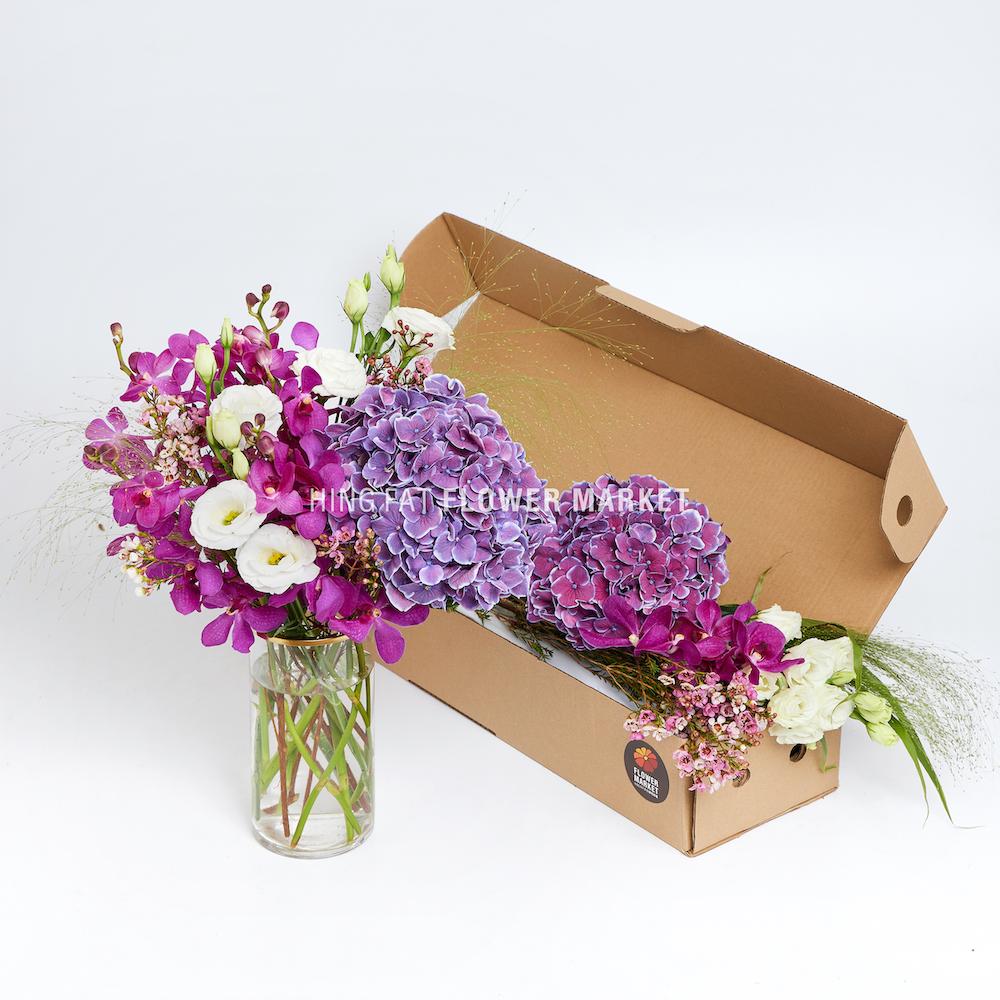DIY set - purple hydrangea & purple mokara
