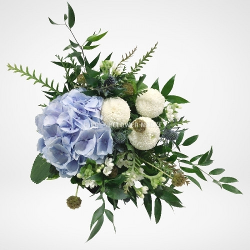 Hydrangea and chrysanthemum bridal bouquet