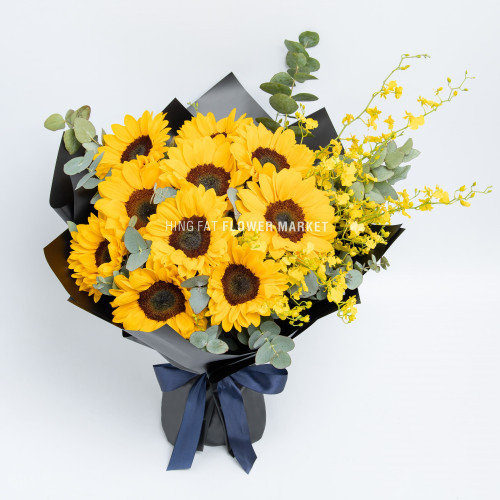 Sunflower and dancing orchid bouquet