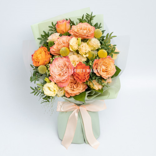 Orange rose and eustoma bouquet