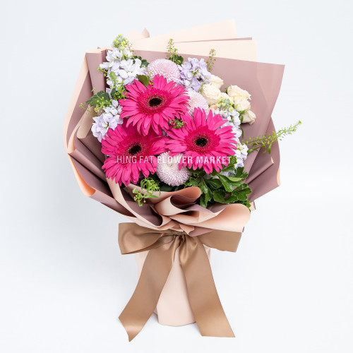 Fuchsia gerbera and stock bouquet