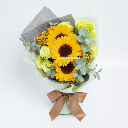 Sunflower and eustoma bouquet