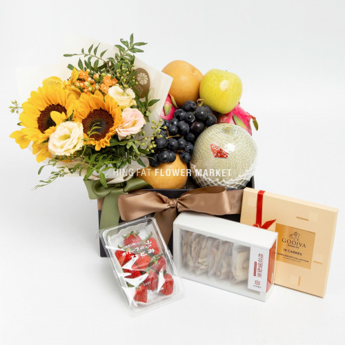 Premium fruit hamper with sunflower bouquet