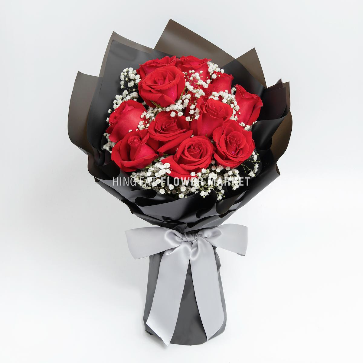 紅玫瑰滿天星花束