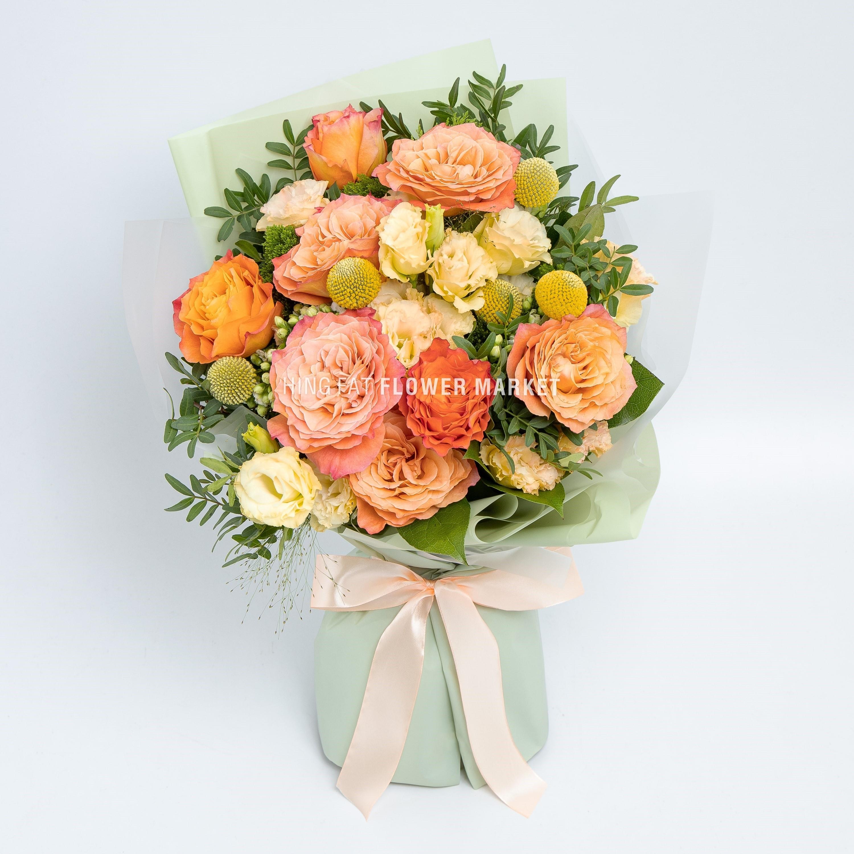 橙玫瑰桔梗花束