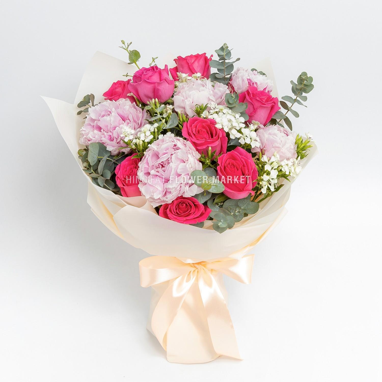 桃紅玫瑰牡丹花束