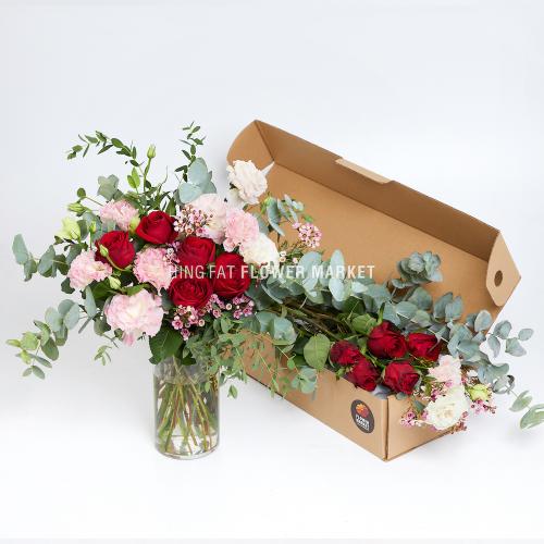 - 紅玫瑰粉桔梗DIY花材包套裝