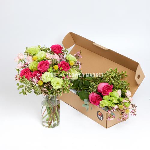 - 粉玫瑰綠桔梗DIY花材包套裝