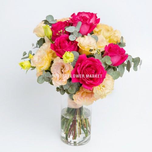 - 桃紅玫瑰桔梗連花瓶