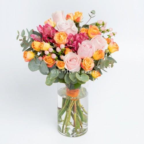 - 玫瑰與小玫瑰連花瓶