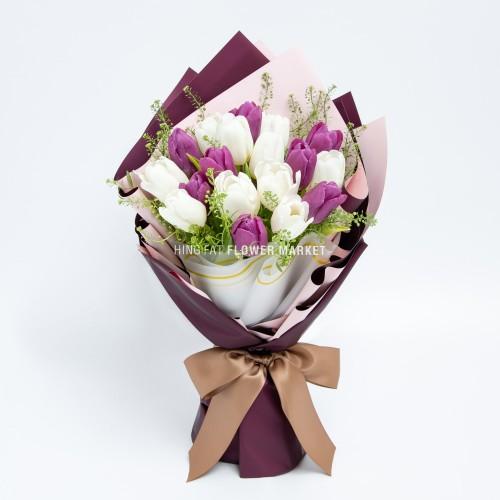 - 紫白色鬱金香花束