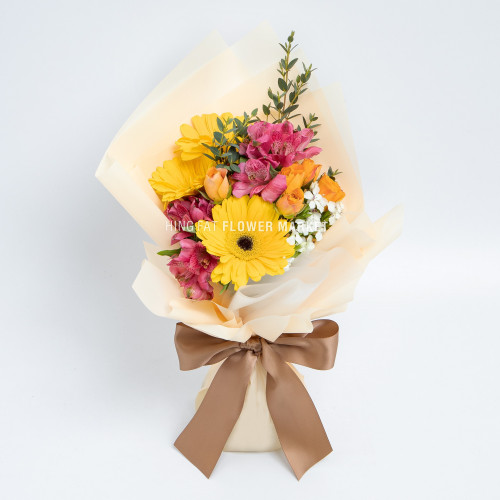 - 黃太陽菊小百合花束