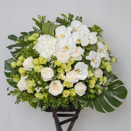- 白蝴蝶蘭玫瑰花籃