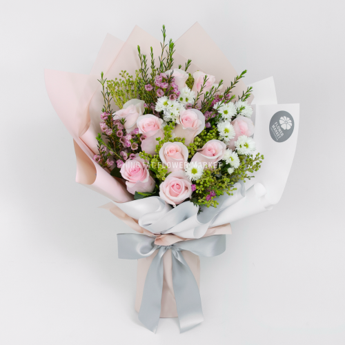 - 淺粉玫瑰蠟梅花束