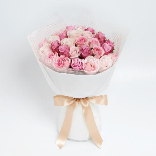 - 30枝三色粉紅玫瑰花束