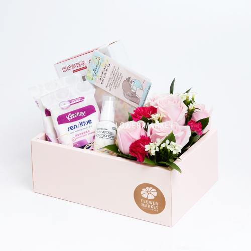 - 粉玫瑰抗疫手提花盒